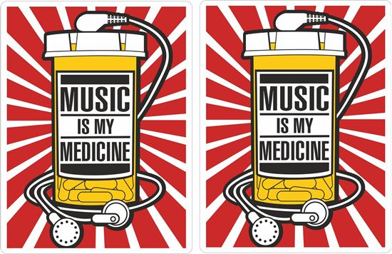"""Picture of """"Music is my Medicine"""" Decals / Stickers"""