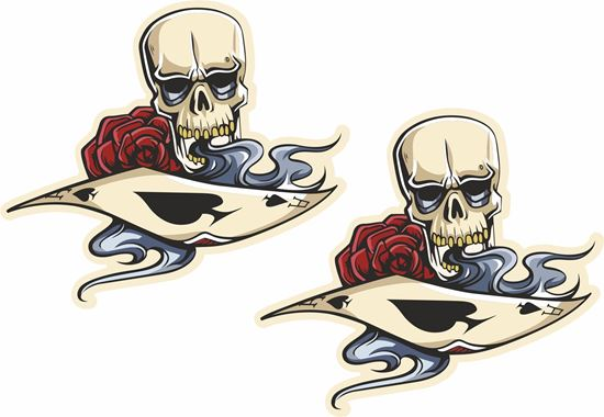 Picture of Playing Card, Skull and Rose Decals / Stickers