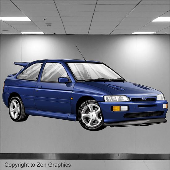 Picture of Ford Escort RS Cosworth Wall Art sticker (full colour)