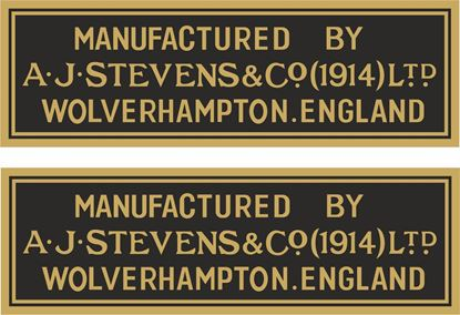 """Picture of """"Manufactured By AJS Stevens & Co"""" Decals / Stickers"""