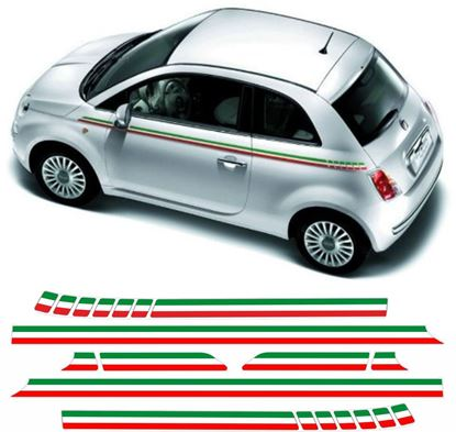 Picture of Fiat 500 Italian side Stripes / Stickers FACTORY FIT