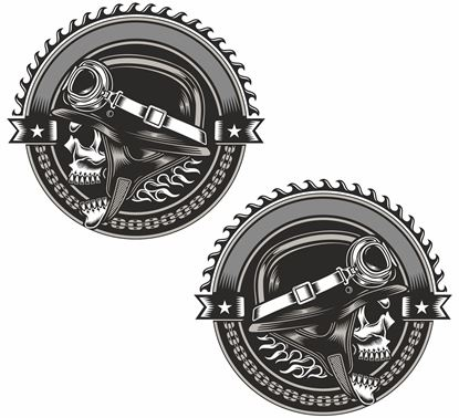 Picture of Skull Biker Decals / Stickers
