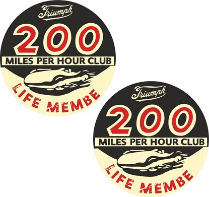 "Picture of ""Triumph 200mph Club"" Decals / Stickers"