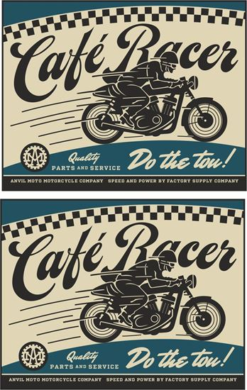 """Picture of Anvil Motorcycle Co """"Cafe Racer"""" Decals / Stickers"""
