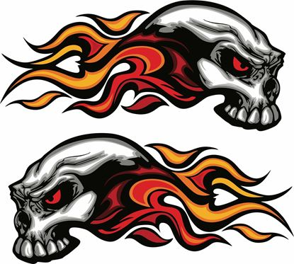 Picture of Skull Flames general panel  Decals / Stickers