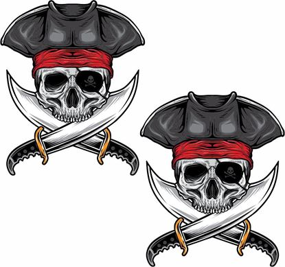 Picture of Skull Pirate Decals / Stickers