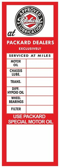 Picture of Packard Classic Service / Maintenance Stickers