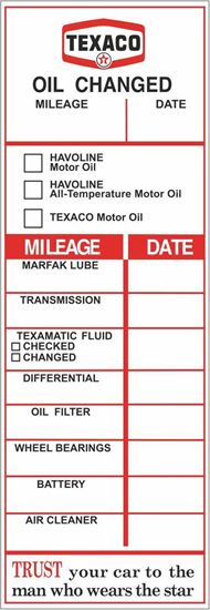 Picture of Texaco Classic Service / Maintenance Stickers