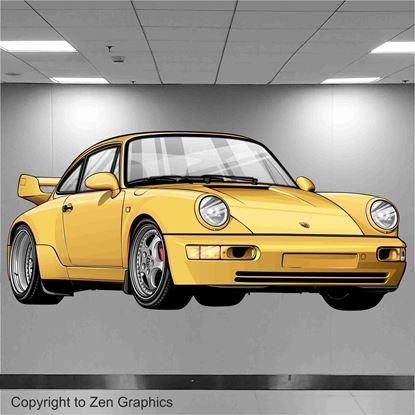 Picture of Porsche 964 RS Wall Art sticker (full colour)