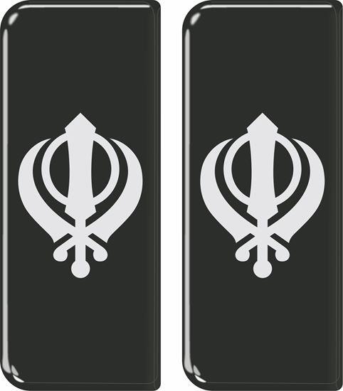 Picture of Khanda Sikh Khalsa side Number plate Gel Badges