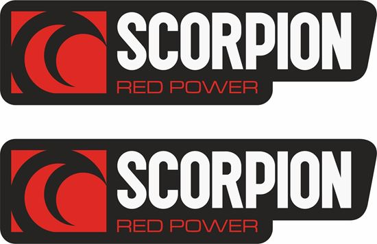 """Picture of """"Scorpion Red Power""""  Track and street race sponsor Decals / Stickers"""