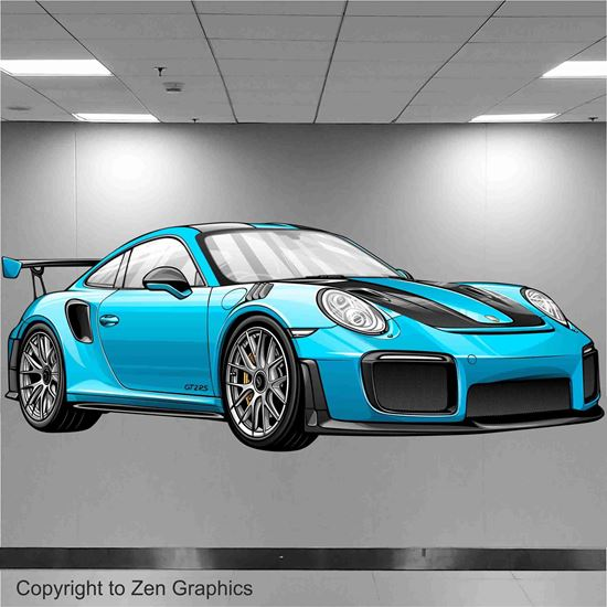 Picture of Porsche 911 GT2 RS Wall Art sticker (full Colour)