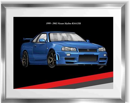 Picture of Nissan Skyline R34 GTR Wall Frame Art Print