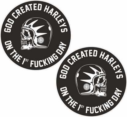 "Picture of ""God Created Harleys..."" Decals / Sticker"