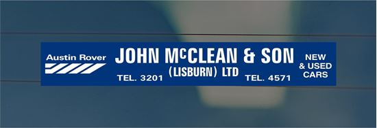 Picture of John McLean - Lisburn Dealer rear glass Sticker