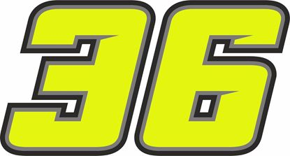 """Picture of """"36"""" Joan Mir Track and street race nose cone number Decal / Sticker"""