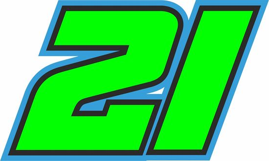 """Picture of """"21"""" Franco Morbidelli Track and street race nose cone number Decal / Sticker"""