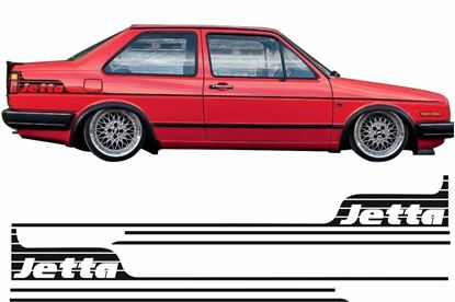 "Picture of VW Jetta MK2 side Stripes and rear quarter ""Jetta"" Stickers"