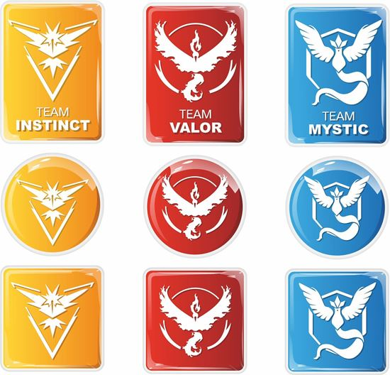 Picture of Pokemon Go Team Instinct / Valor / Mystic Gel Badges