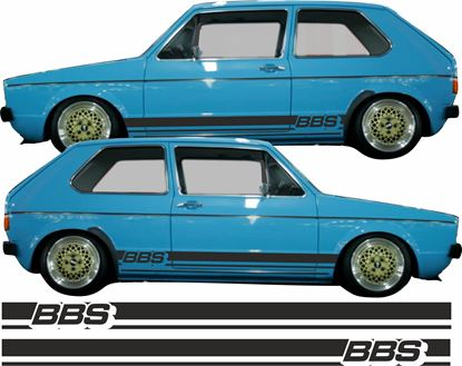 "Picture of Golf MK1 retro style ""BBS"" side Stripes  / Stickers"