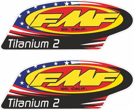 """Picture of """"FMF Titanium 2""""  Track and street race sponsor Decals / Stickers"""
