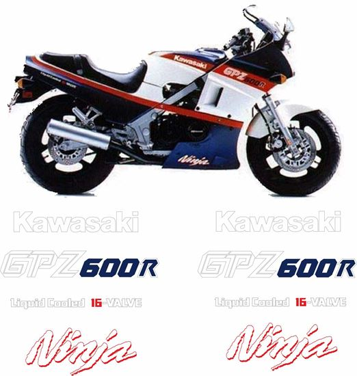 Picture of Kawasaki 600R Ninja 1985 replacement Decals / Stickers