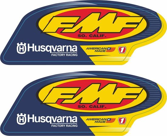 """Picture of """"FMF Husqvarna""""  Track and street race sponsor Decals / Stickers"""