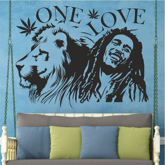 """Picture of """"One Love"""" Bob Marley  Wall Art sticker"""