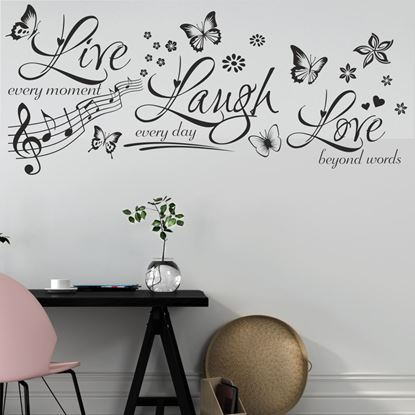 """Picture of """"Live, Laugh, Love...""""  Wall Art sticker"""