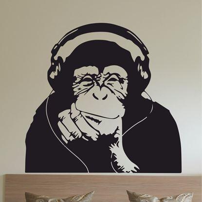 Picture of Banksy Monkey Headphones  Wall Art sticker