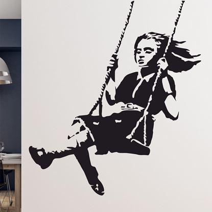 Picture of Banksy Girl on Swing Wall Art sticker