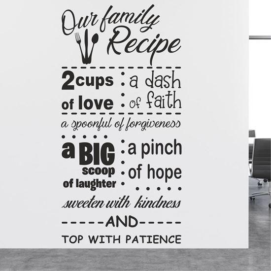 """Picture of """"Our Family Recipe""""  Wall Art sticker"""