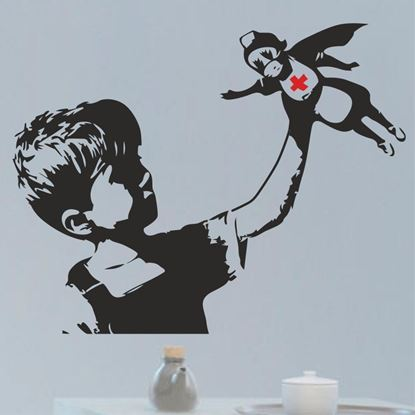 Picture of Banksy Boy and Nurse Wall Art sticker