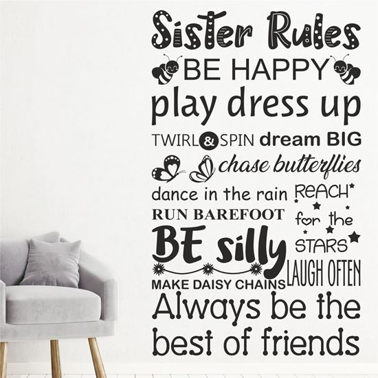 """Picture of """"Sister Rules..."""" Wall Art sticker"""