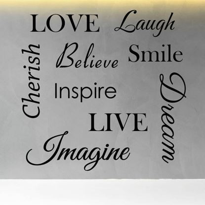 """Picture of """"Love, Laugh, Believe, Smile...""""  Wall Art sticker"""