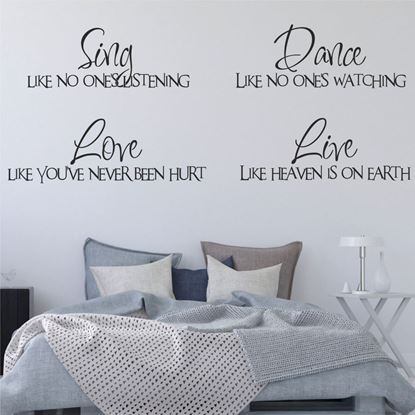 """Picture of """"Sing, Dance, Love...""""  Wall Art sticker"""