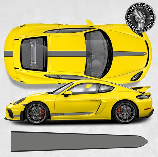 Picture of 781 Cayman GT4 side and over the top Stripes