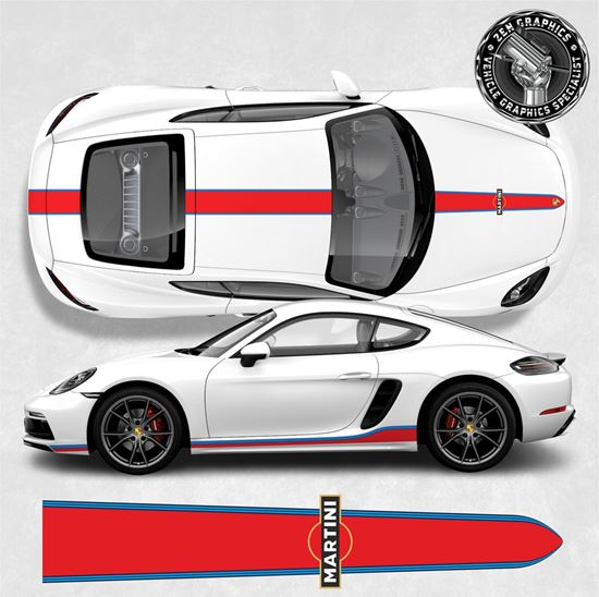 Picture of 718 Cayman / Boxster Martini side & over the top  Stripes