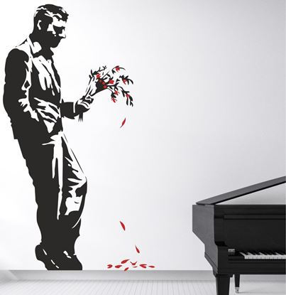 Picture of Banksy Man with Flowers Wall Art sticker