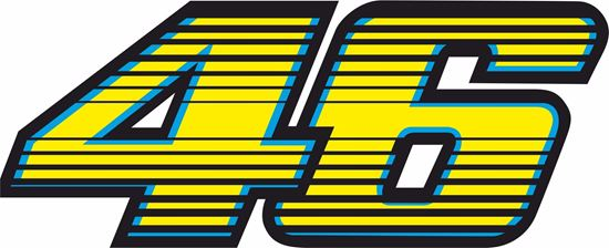 """Picture of """"46"""" Valentino Rossi Track and street race nose cone number Decal / Sticker"""