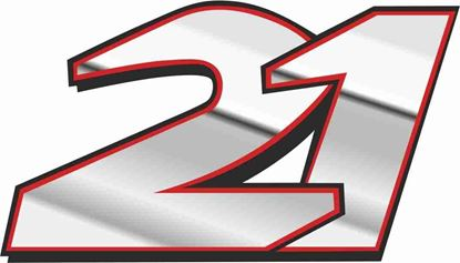 """Picture of """"21""""  John Hopkins Track and street race nose cone number Decal / Sticker"""