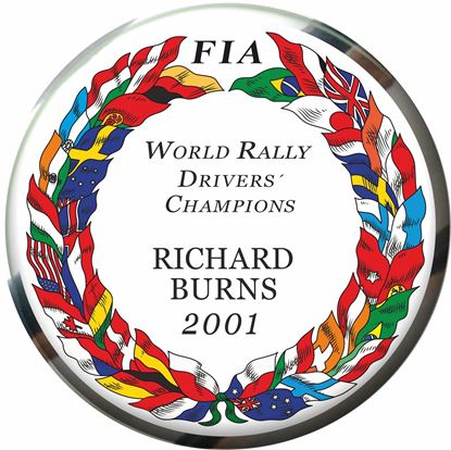 Picture of FIA Drivers Champion Richard Burns 2001 adhesive Badge