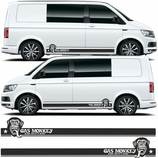 "Picture of VW T5 / T6 ""Gas Monkey - Blood, Sweat & Beers"" side Stripes / Stickers"