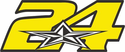 """Picture of """"24"""" Toni Elias rack and street race nose cone number Decal / Sticker"""