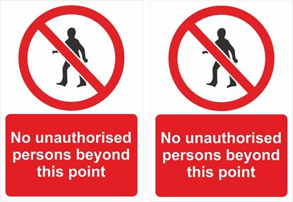 Picture of No unauthorised persons beyond this point Decals / Stickers