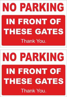Picture of No Parking in front of Gates Decals / Stickers