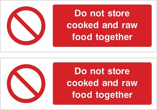 Picture of Do not store cooked and raw food together Decals / Stickers