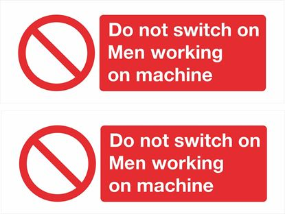 Picture of Do not switch on, Men working on machine Decals / Stickers