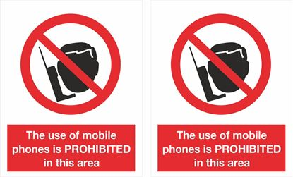 Picture of The use of mobile phones is Prohibited... Decals / Stickers