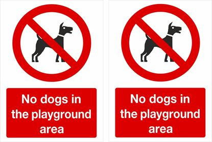 Picture of No dogs in the playground area Decals / Stickers